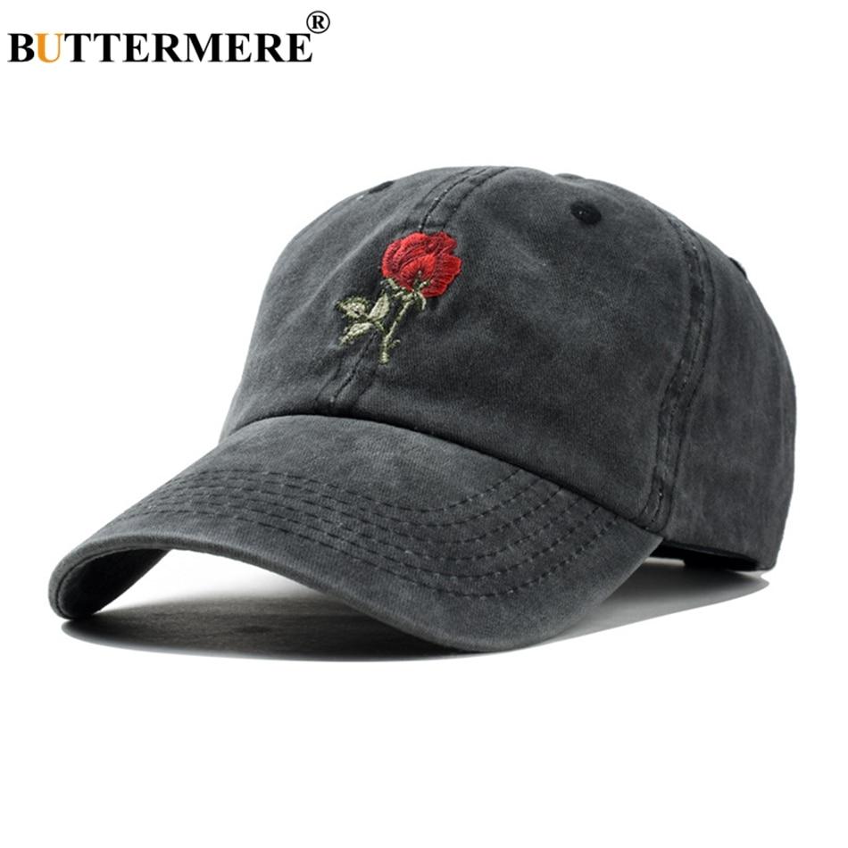 BUTTERMERE Rose Baseball Cap Embroidery Women Washed Black Female Adjustable Korean Dad Hat Ladies Hats Spring 2019