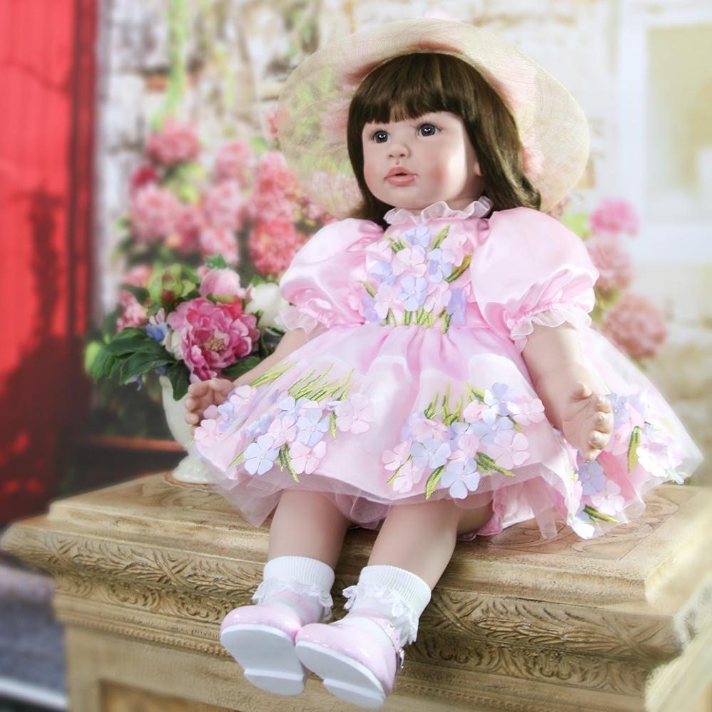 цена на Beautiful Pink Girl Silicone Reborn Girl Baby Doll Princess Doll Toys for Girls Lifelike Dolls Toys for Girls Birthday Gifts