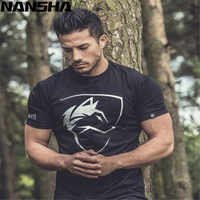 New ALPHALETE Men's T-Shirts Fashion Short Sleeved Fitness Bodybuilding Shirt For Men Workout Slim Fit Cotton tee tops