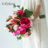 2019 Round Bridal Bouquet Country Wedding Pink Roses Kwiaty Fuchsia Peony Bride Bouquet Bridesmaid Blumen buque de casamento