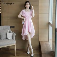 Женское асимметричное платье из шифона розовое вечернее до колена