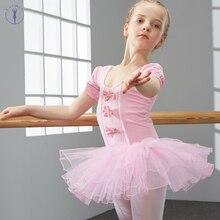 Cotton and Spandex Dance Dress Ballet Tutu Danse for Girls Kids Children Short Sleeves Tulle High Quality
