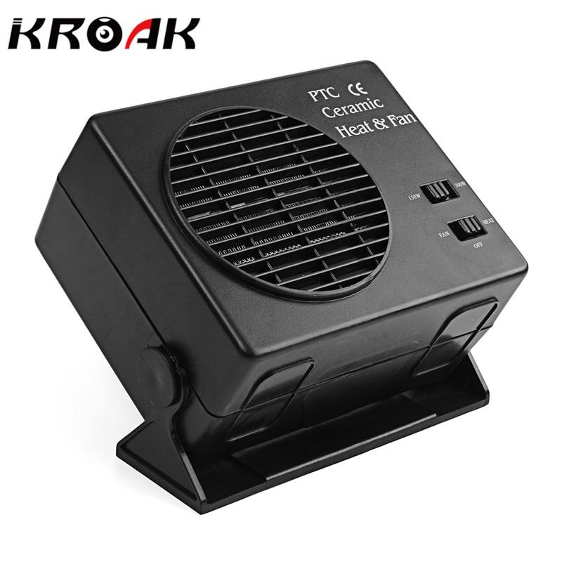 KROAK 2 in 1 Electric Car SUV Vehicles Portable Ceramic Heating Cooling Dryer Warmer Fan Demister Defroster 12V 150/300W