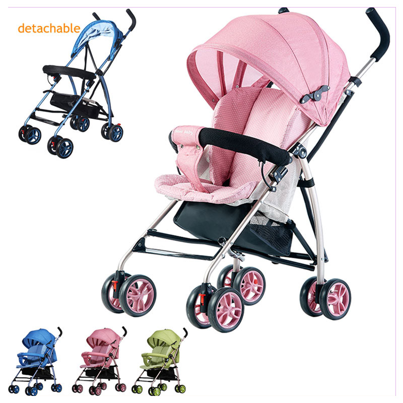 Baby Umbrella Stroller Can Lie Flat Ultra Light Four Wheels Stroller Removable Cushion Portable Travel System Car Airplane 0~3YBaby Umbrella Stroller Can Lie Flat Ultra Light Four Wheels Stroller Removable Cushion Portable Travel System Car Airplane 0~3Y