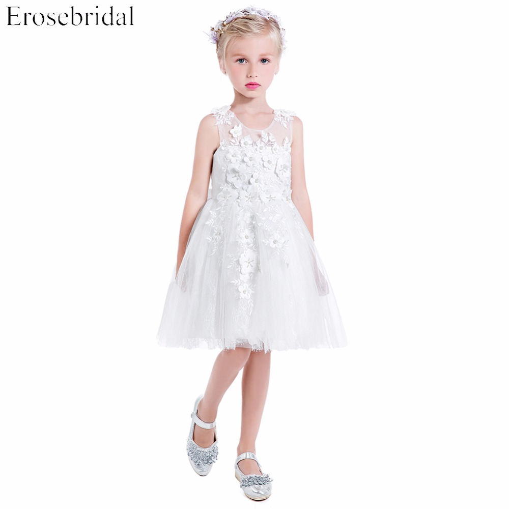 2019   Flower     Girls     Dresses   Erosebridal Beautiful Wedding   Girls     Dress   A Line Fancy Beading Party Gowns Zipper Back Knee Length