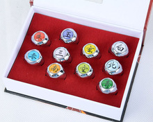 Anime Naruto 10 pcs/set Akatsuki Member Cosplay Matel Model Ring