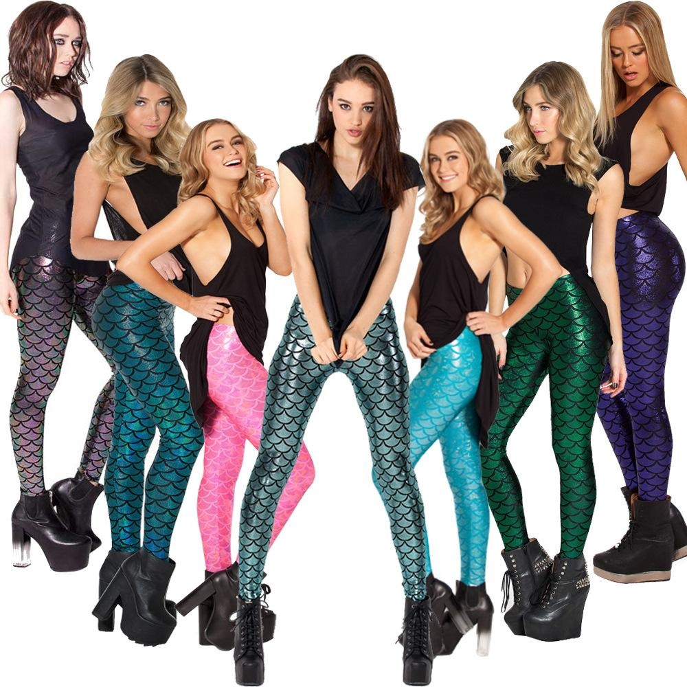 Größe S-XXL Sommer Schwarz Simulation Mermaid Legging Mode Frauen Leggings Sexy Digitaldruck Bunte Hosen polain 95ZQ9