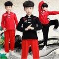 Los niños del cabrito adulto de manga larga de algodón Dobok Wushu Traje Kimono Judo ropa Traje de Kung Fu Chino Tai Chi Artes marciales uniforme