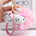 Hello kitty fur pompom bell keychain super cute cat KT keychains cartoon anime key chain ring girls bag pendant keychain for car