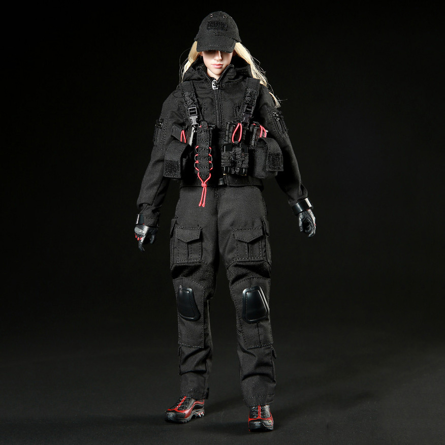 1/6 Female Combat Suit Black Dark Gunners & Shoes Set For 12 Action Figure Accessories new sexy vs045 1 6 black and white striped sweather stockings shoes clothing set for 12 female bodys dolls