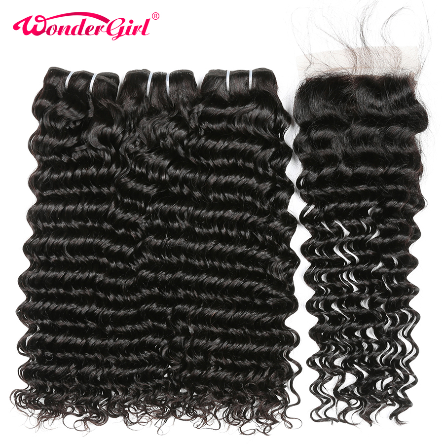 Deep Wave Bundles With Closure 4Pcs Brazilian Hair Weave Bundles Wonder girl Remy Hair Extension Human
