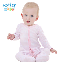 0 12 M Baby Romper Long Sleeve Pink Stripped 100 Cotton Baby Jumpsuit Newborn Baby Girl