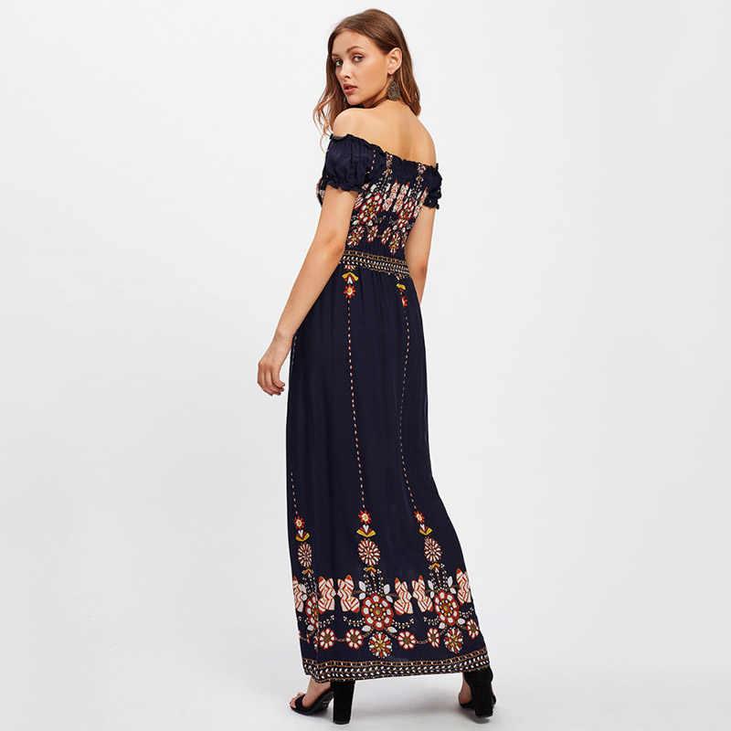 S. SMAAK 2018 Zomer Bloemenprint Maxi Jurk Vrouwen Casual Strand Jurk Elegante Strapless Lange Jurk Vintage Boho Party Vestidos
