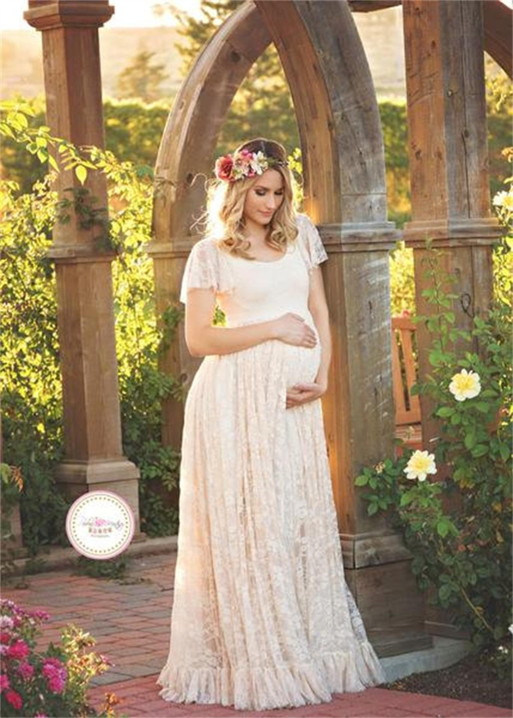 Online get cheap maternity dresses for beach aliexpress maternity dress for photo shooting round neck white dress maternty photography props short sleeve lace pregnant ombrellifo Image collections