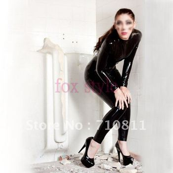 Black latex tights for adult girls with front zipper to waist