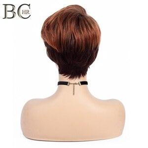 Image 4 - BCHR ショートウィッグダーク/赤オレンジ合成かつらサイドバングダーク根オンブルのかつら女性ナチュラルウェーブ髪