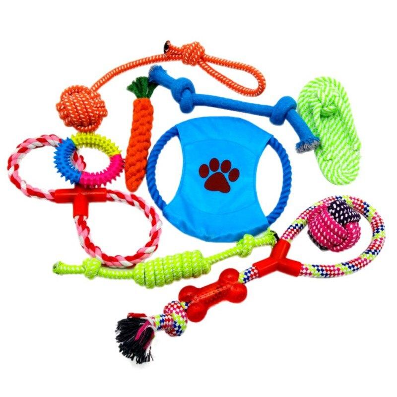 Собаки игрушки 6/10 Пакет подарочный набор БЕСПЛАТНАЯ Мешок веревки с узлами кости Мячи Фрисби, писк плюшевые игрушки утки