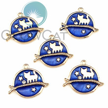 5X Blue Enamel Metal Cat Tree Branches KC Gold Color Charms Girls Women DIY Necklace Pendant Jewelry Accessory 22215 10 mixed random color alloy enamel metal cat tree branches charms girls women diy necklace pendant fashion jewelry findings