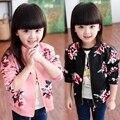 2016 spring autumn children baseball uniform outerwear baby girls clothes kids flowers cartoon casual outerwear Jackets & Coats