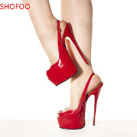 SHOOFOO shoes.Sexy fashion free shipping, red PU, 4.5 per cent waterproof, 14.5 cm sandals stiletto. SIZE:34 45