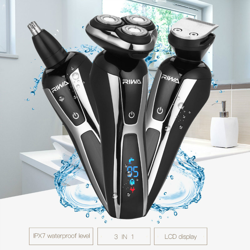 Professional 3 Floating Blade Electric Shaver for Men Rechargeable Water Resistant Razor Machine with LCD Display Screen 43