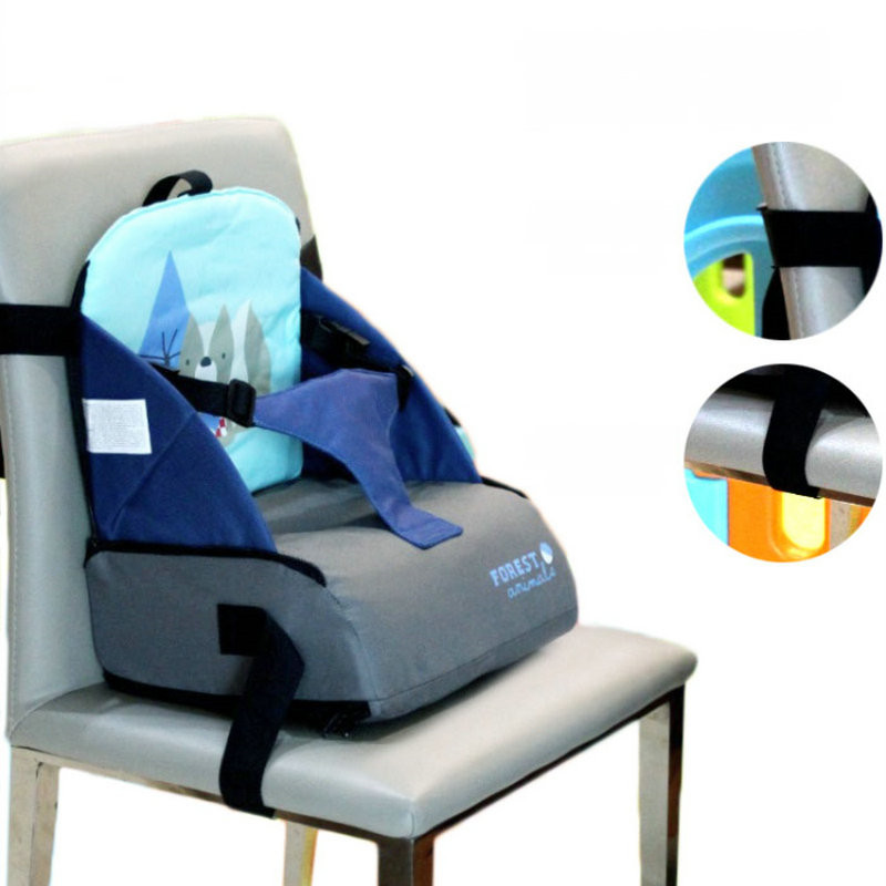 Travel Baby Booster Seat Harness Random Straps Portable Fold Washable Baby Dining Chair Seat Bag, Cute baby feed chair bag