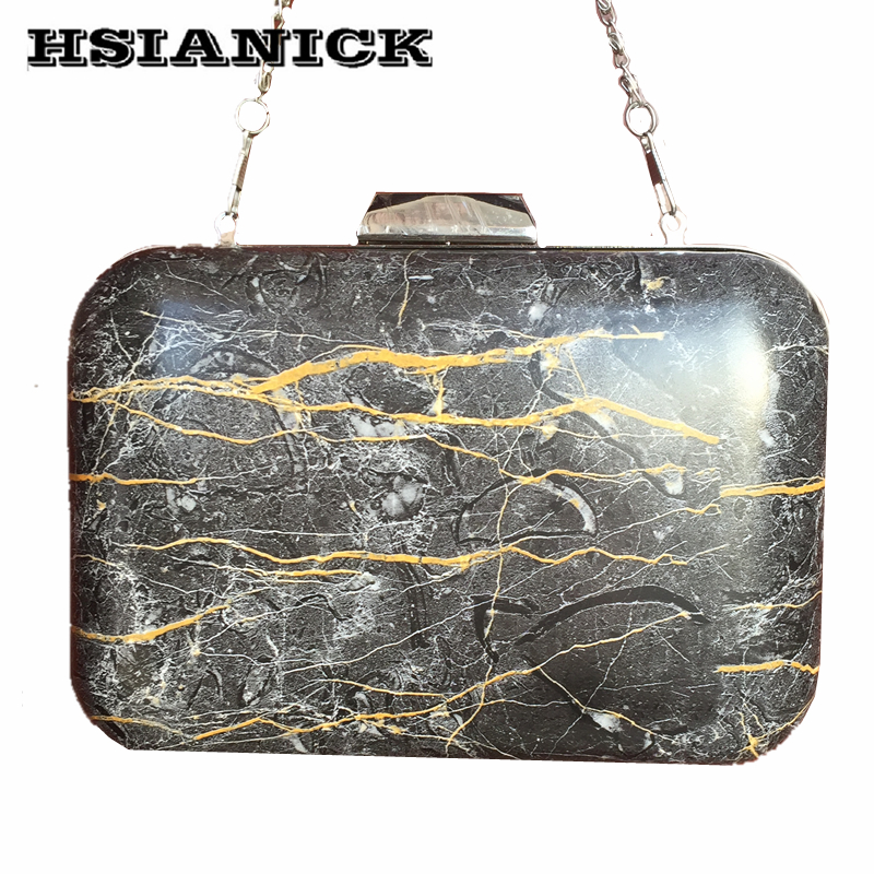 2019 New Fashion PU Bolsa Feminina Stone Marble Pattern Design Women Black Square Box Clutch Party Bag Evening Bag Chain Handbag in Top Handle Bags from Luggage Bags