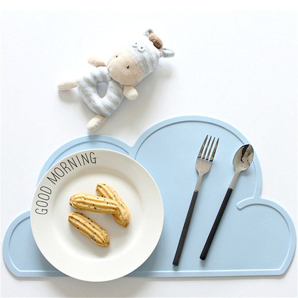 Cute Silicone Placemat FDA Bar Mat Baby Kids Cloud Shaped Plate Mat Table Mat BPA Free Waterproof Set Home Kitchen Pads 47x27cm (2)