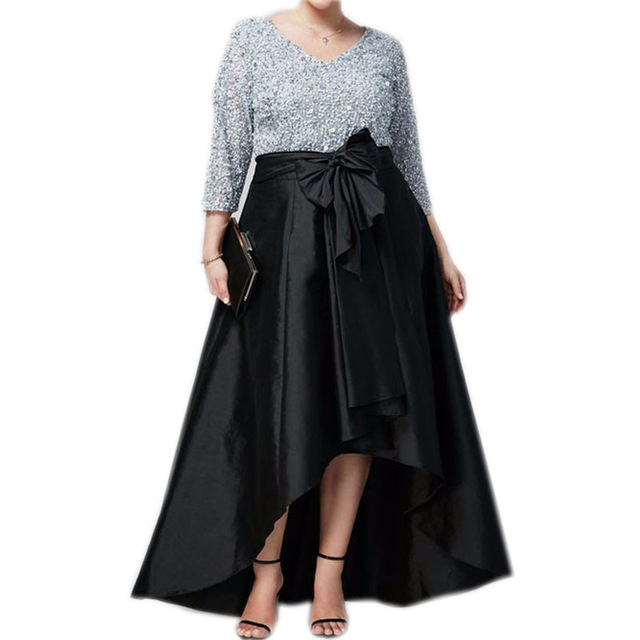 0f1ca88e2bfe Vintage Black High Low Satin Long Skirts For Women To Formal Party Plus  Size 2017 With Bow Plus Size Custom Made Maxi Skirt