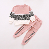 Children Spring Autumn Clothing Set Girls Lace Cotton Christmas Outfit Kids Clothes Tracksuit Suit For Girls Cloth Sets AA11780
