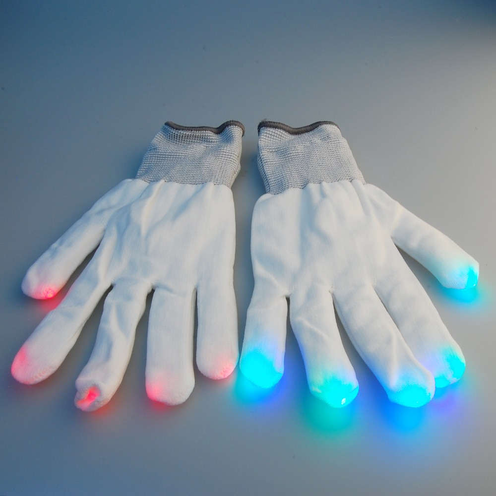 LeadingStar Novelty Toy Multicolor Raver Gloves Red+Green+Blue LED Lights in Each Fingertip Novelties for Parties 6 Modes zk15