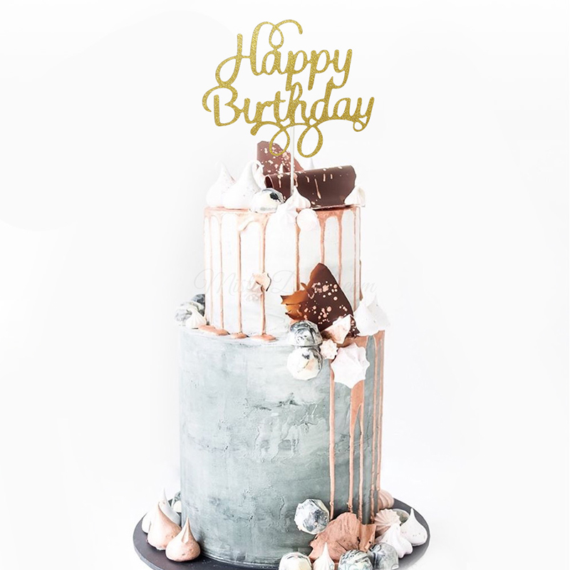Awe Inspiring 1Pc Glitter Cake Topper Happy Birthday Letter Printing Cake Topper Funny Birthday Cards Online Sheoxdamsfinfo