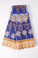 5Y Fashion blue african brocade bazin lace fabric with blue water soluble lace embroidery and 2Y net lace for dress HBZ19-2