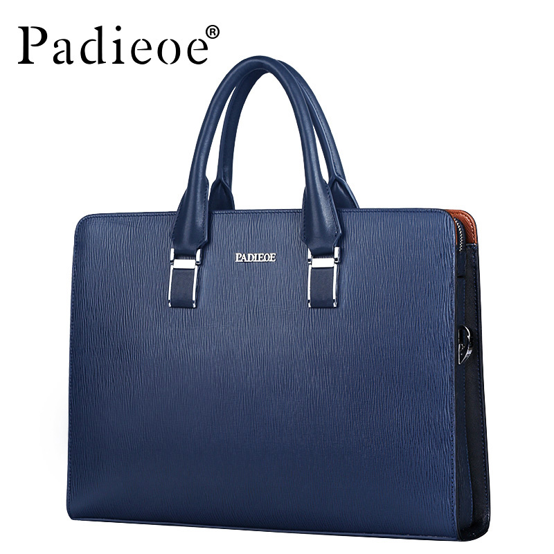 Padieoe Password Lock Genuine Leather Briefcase Men Business Bags Black Office Briefcase Laptop Leather Handbag Men