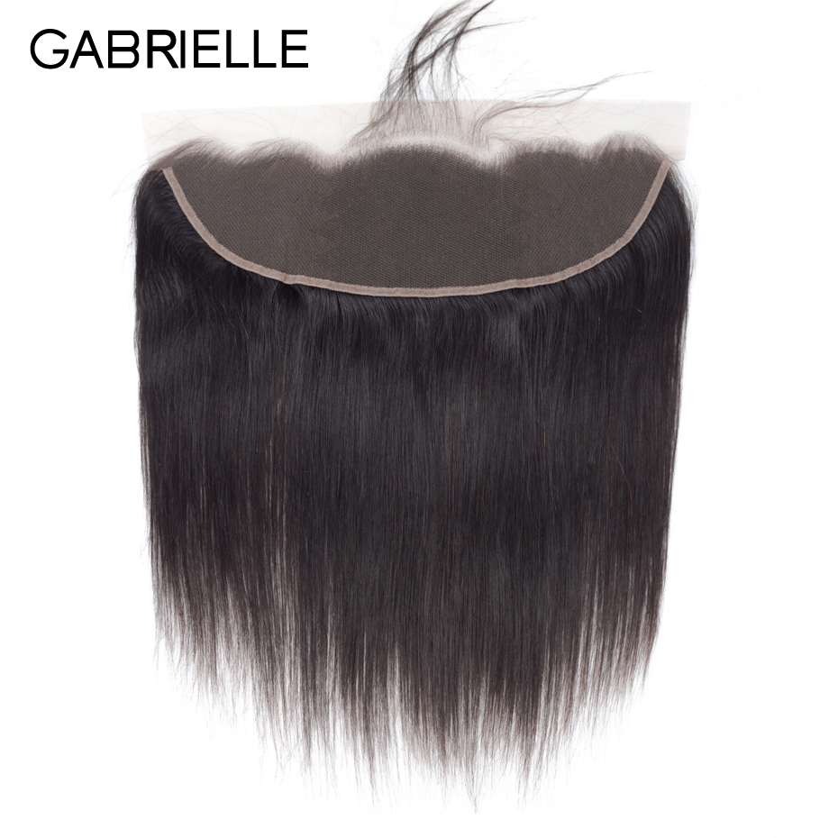 Gabrielle Closure Human-Hair Lace-Frontal Peruvian Natural-Color Straight 8-22-Inches