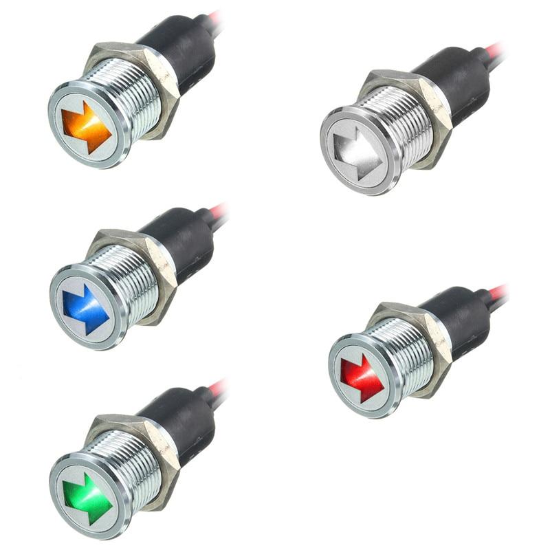 1шт 14мм светодиодные панели приборной панели предупредительный световой сигнал индикатора лампы красный синий зеленый желтый белый AC/DC 12 В стайлинга автомобилей