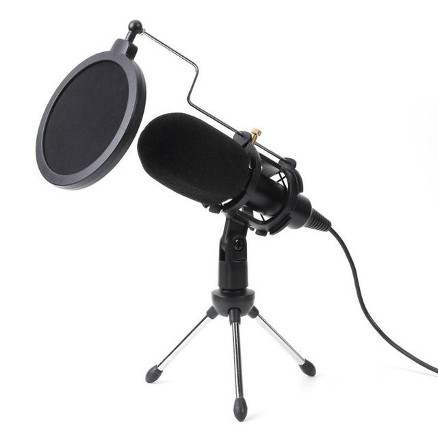 ALLOYSEED micrófono USB condensador de mano con cable, con soporte plegable, parabrisas para chat de PC, 170x32x32mm