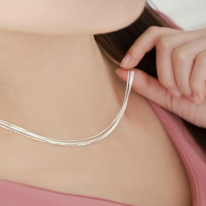 925 Sterling Silver Multilayer Chain Necklace For Women Kvinnor Enkel - Märkessmycken - Foto 2