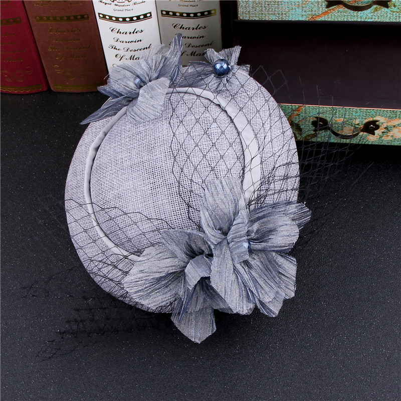 Vintage Grey Pink Birdcage Net Wedding Hats Bridal Fascinator Face Veils Feather Flower with Hairpin