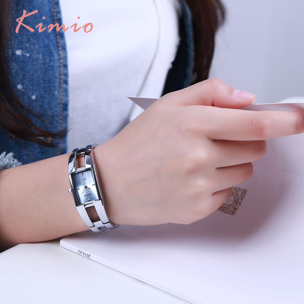 Ladies Sale New 2018 Kimio Fashion Brand Dress Female Bracelet Watches For Women Diamond Rectangle Stainless Steel Quartz Clock stylish rhinestoned rectangle triangle bracelet for women