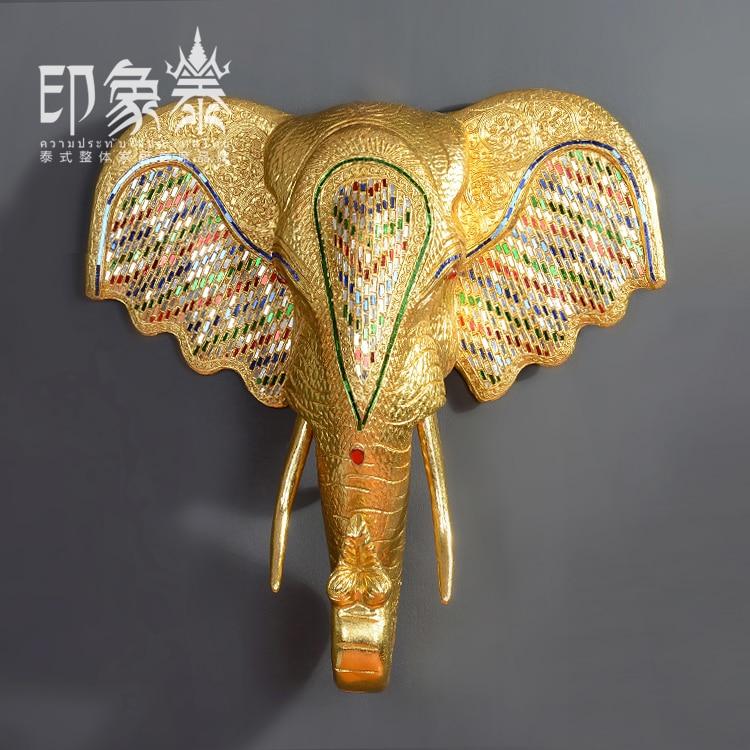 Thailand Style Elephant Head Wall Decoration Gold With Diamond Wood ...