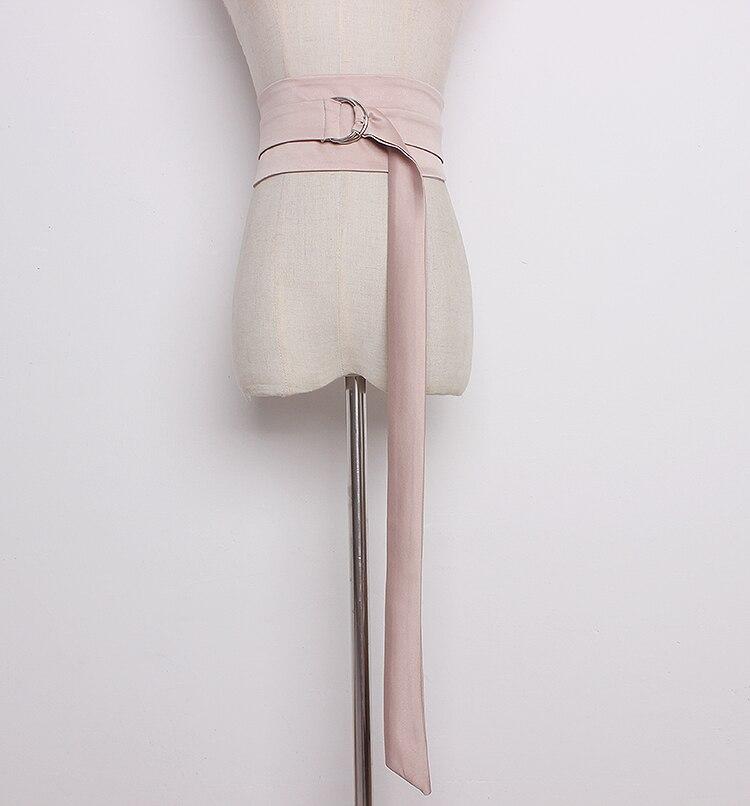 Women's Runway Fashion Solid Satin Cummerbunds Female Dress Corsets Waistband Belts Bow Decoration Wide Belt R1300