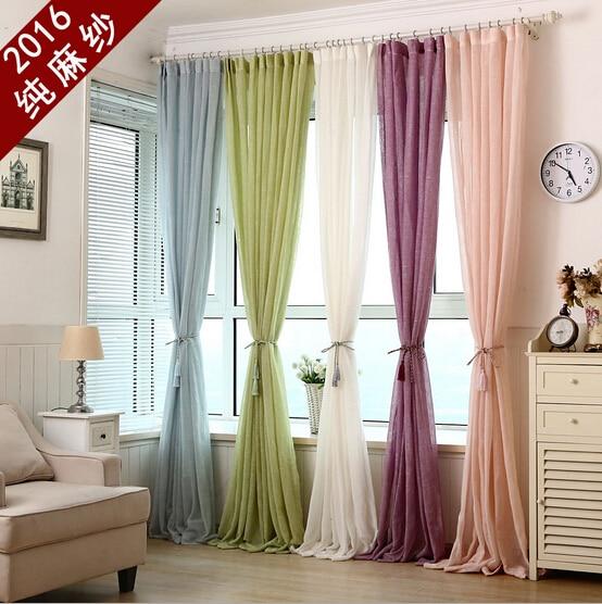 Lin tulle rideaux cortinas de organza sheer rideau pour salon voile ...