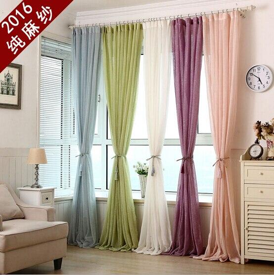 Buy linen tulle curtains cortinas de for Cortinas para living
