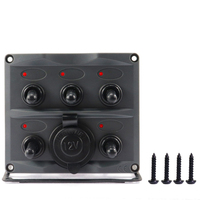 5 Channel Toggle Switch On/Off Panel LED Indicator Light Boat Car Bus Control Button Panel