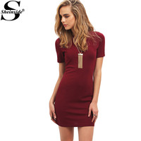 Sheinside Work Summer Bodycon Mini Dresses 2016 New Arrival Casual Women Burgundy Crew Neck Short Sleeve Slim Dress