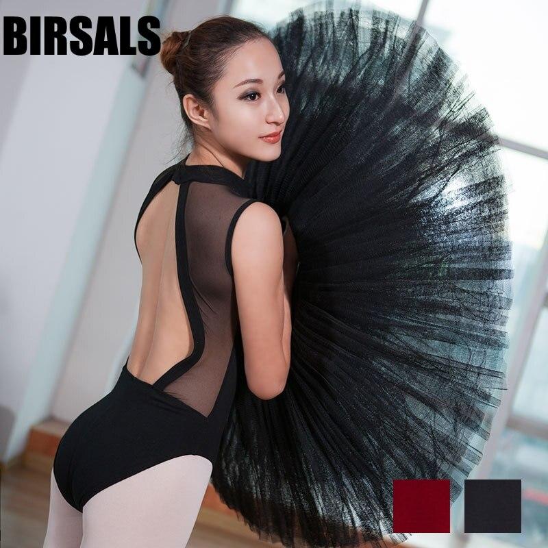 ladies black dance practicing dance gymnastics costume women mock turtleneck plunging powermesh back ballet leotards CS0180