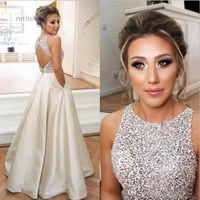 prom dress 2019 sexy champagne prom dresses a line beaded Sequin a line bare back floor length party dress with pocket