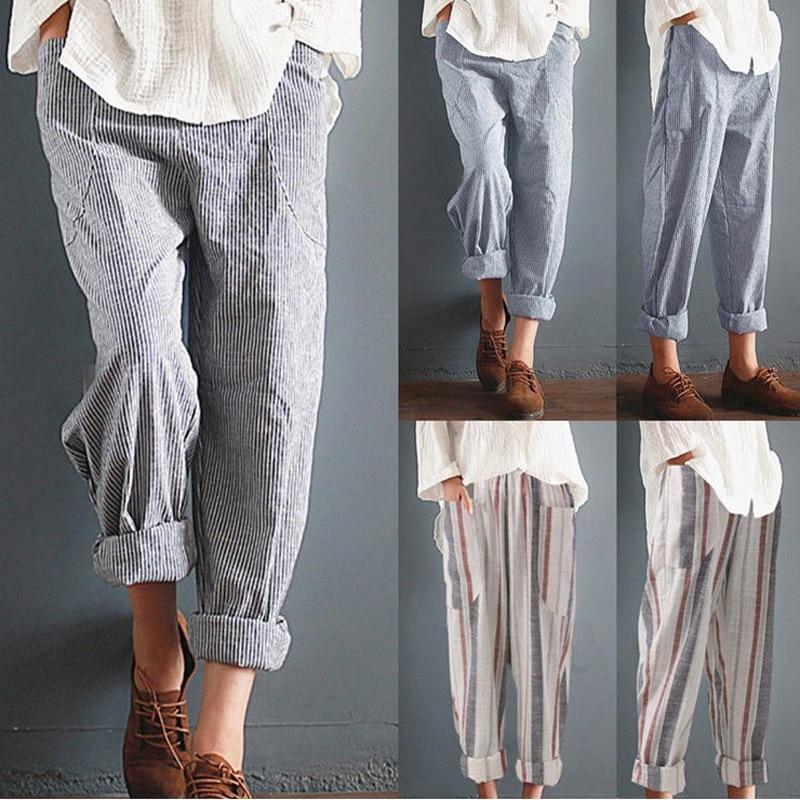 YRRETY Summer New Woman Linen Striped Harem Pants Fashion Women Cotton Loose Striped Full Pants Female 2018 Casual Pants S-5XL 6