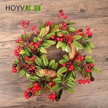 лучшая цена HOYVOY 40cm pine garland Christmas decoration door handle party red garland decoration wedding accessories